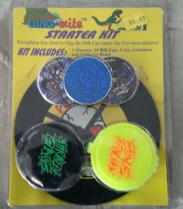 "Dino-Mite Milk Caps Pogs Starter Kit Game Slammer 2 Containers 5"" Playing Board"