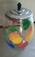 """VTG.BARTLETT-COLLINS Gay Fad Hand Painted Fruit ;Clear Glass Cookie Jar 9"""";LID"""