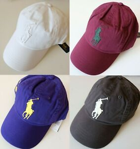 Polo Ralph Lauren Big Pony Athletic Twill Cap Leather Strap Back Hat
