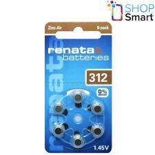 6 RENATA HEARING AID BATTERIES SIZE 312 PR41 1.45V ZINC AIR NO MERCURY NEW