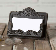 Distressed Black Chippy Business Card Holder Embossed Vintage Style Shabby