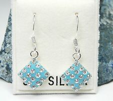 NEU 925 Silber OHRHÄNGER blau STRASSSTEINE crystal/kristallklar/klar OHRRINGE