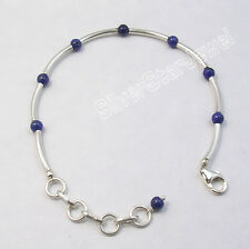 "925 Sterling Silver Tubes & Pipes Original LAPIS LAZULI Beads Bracelet 7 5/8"""