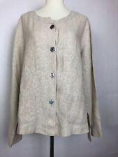 J. Jill Womens Linen jacket top button Down Beige  Size Petite Large Pockets