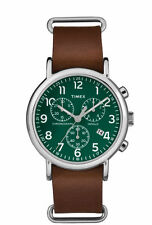 Timex Weekender Chrono Oversized Men's Wristwatch with Brown Strap and Green...