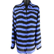 New York & Company Black & Blue Striped Long Sleeve Button Down Shirt Size XL
