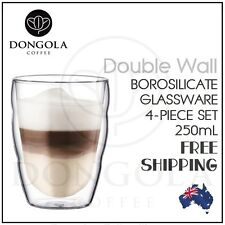 4PC 250mL (8.45oz) Double Wall Walled Coffee Cappuccino Cafe Latte Glasses Cup