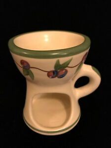 Tart Warmer by Old Cape Cod Stoneware with Printed Pink and Blue Berries