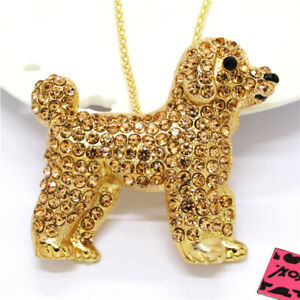 New Betsey Johnson Champagne Cute Dog Puppy Crystal Pendant Chain Necklace