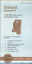 USGS Topographic Map OXFORD Mississippi -1990- 100K - contours & elevations -