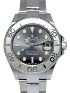 Rolex Yacht-Master 37 Steel & Platinum Rhodium Dial Oyster Watch 268622