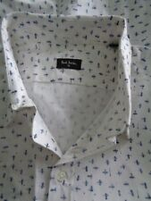 BNWoT PS Paul Smith White Blue Cotton Short Sleeve Fitted Shirt size S