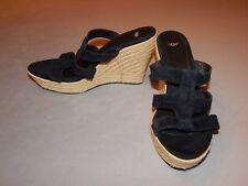 UGG Womens Black Espadrilles Sz 11 M Open Toe Heels Wedges Sandals Excellent