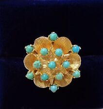 Vintage c.1966 9ct Yellow Gold & Turquoise Flower Ring - Size P 1/2