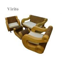 Rattan Banana Leaf Set Patio (2 Chairs, Table w/ Glass, Double, Sofa) Cushion