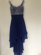 Women Royal Blue Chiffon Embellished Asymmetric Hem Gown Dress SZ 8 RRP £130