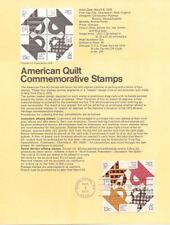 #7806 13c Am. Quilts Stamps (4) #1745-48 USPS Souvenir Page