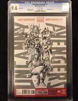 Uncanny Avengers #1 Marvel CGC 9.6 NM+John Cassaday 1:300 Sketch Variant