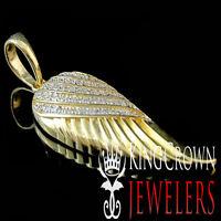 "10K Real Solid Yellow Gold Genuine Diamond Single Angel Wing Pendant 0.30ct 1.5"""