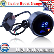 "2"" 52mm Car Universal Digital Turbo Boost Gauge Meter Blue LED Black Cover PSI"