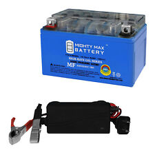Mighty Max Ytx7A-Bs Gel Battery Replaces Sym Mio 100 05-09 + 12V 1Amp Charger