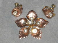 Vintage Van Dell 1/20 12K Gold Filled Rhinestone Fall Flower Demi Pin & Earrings