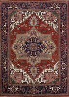 Geometric Heriz Serapi Oriental Area Rug Hand-Knotted Living Room Carpet 9'X12'