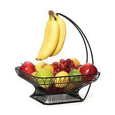 Fruit Basket Bowl Vegetable Wire Hanger Storage Kitchen Holder With Banana Hook