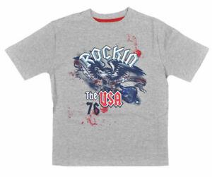 Faded Glory Big Boys S/S Gray Rockin USA Top Size  10/12 14/16