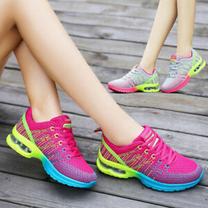 Running Women jogging Air Gym Sport Trainers Lace Up Ladies Casual Shoes Size