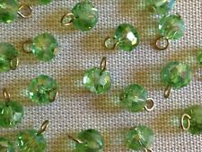 24 Aurora Borealis AB Faceted Glass Beads w/ Brass Eye Pin 8mm Peridot Green LOT