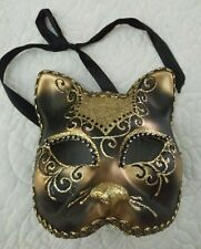 Decorative Cat Mask~ Hand Painted Glitter & Gold & Rhinestone Made in Italy