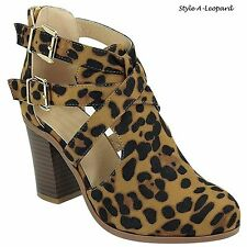 New Women Fashion Chunky Stacked High Heel Bootie Ankle Straps Cut Out Boots