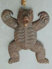 RARE ANTIQUE VICTORIAN BLACK FOREST ARTICULATED BROWN BEAR CARVED WOOD PUPPET