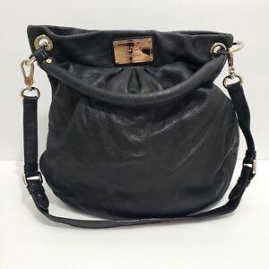 Marc Jacobs Hillier Black Bag Hobo Messenger Pebbled Leather