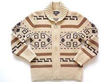Pendleton 100% Wool Beige Southwestern Big Lebowski Westerly Cardigan Sweater S