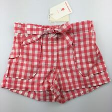 Girls Size 7 Country Road Pink Cotton Gingham Shorts Elasticated