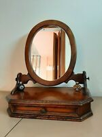 VINTAGE LOOK CRAFTED WOODEN MIRROR FRAME WITH DRAWER TABLE STAND