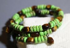 Marbled Green Stone & Tiger's Eye Bead Memory Wire Coil Bracelet