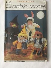 """Doll Costume Pattern 18"""" Cabbage Patch Precious Pals Bunny Witch Pirate Clown 85"""