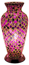 Fabulous Mosaic Glass Pink and Purple Vase Lamp Table Bedside Mood Lighting