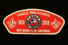CIRCLE TEN COUNCIL 1913 - 2013 PATCH - 100 YEAR ANNIVERSARY  BSA CSP Red Backing