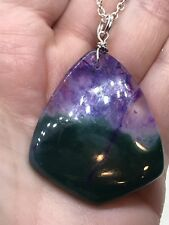 "Geode Agate Druzy Crystal Tibetan Silver 18"" Necklace D-1325"