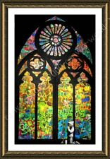 Stained Glass Window Church Cathedral by Banksy   Framed canvas   Wall art