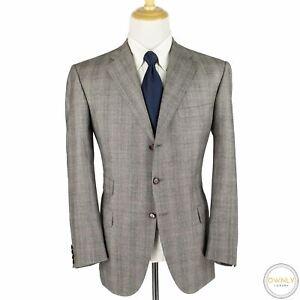 CURRENT Brioni Grey Black Red Wool Glen Plaid Woven Dual Vents Suit 44R