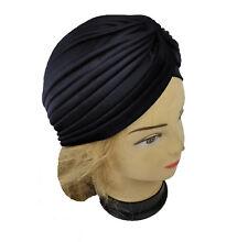 Lady Stretchy Turban Head Wrap Band Chemo Bandana Hijab Pleated Indian Cap Black