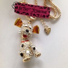 """CUTE SPOTTED CRYSTAL SITTING DOG 28"""" Pendant Necklace Betsey Johnson+"""
