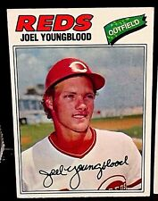 JOEL YOUNGBLOOD 1977 Topps Baseball ERROR Red INK BLEED Neck/Face #548 Rare REDS