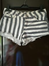 New Look striped white and blue short shorts size 8