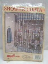 "Vintage Excell Blue Carousel Horse Vinyl Shower Curtain 70"" x 72"" NIP"